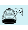 bird and cage vector image vector image