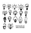 black 8-bit light bulbs symbol of idea vector image vector image