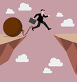 Businessman jumps the abyss with the weight vector image