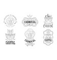 carnival mardi gras hand drawn retro labels set vector image