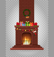 cartoon decorated burning fireplace with many vector image vector image