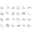 Charts black icons set vector image vector image