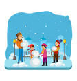 children in winter clothes sculpt a snowman vector image vector image