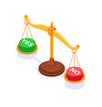 choice yes or no on scales concept vector image vector image