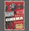 cinema festival retro poster vintage camcorder vector image vector image