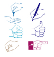 color icon set with hand vector image