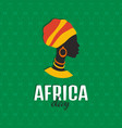 colorful african style card with woman silhouette vector image