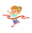cute girl running to the finish line first kids vector image vector image