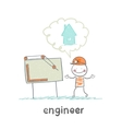 engineer looking at drawings and thinking about vector image vector image
