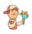 Feeling Shy Giving Flowers Boy In Cap And College vector image vector image