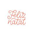 feliz natal calligraphic line art typography vector image