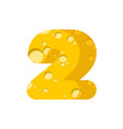 figure 2 cheese font numeral two of cheesy vector image vector image