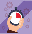 hand holding chronometer timer stop vector image