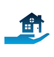 hand with house building silhouette icon vector image vector image