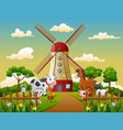 happy animal with windmill building background vector image vector image