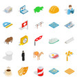 happy life icons set isometric style vector image vector image