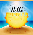 hello summer typography on carved pineapple vector image vector image