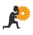 human figure with gear setting isolated icon vector image