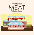 meat department pork shelf with fresh beef and vector image vector image
