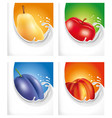 milk splash pear-apple-plum-peach vector image vector image