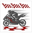 Motorcycle racing on the racetrack and checkered vector image