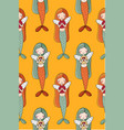 pattern with cute little mermaid siren sea theme vector image vector image