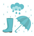 rain set flat or cartoon style autumn vector image vector image