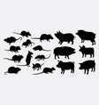 rat mouse and pig silhouette vector image vector image