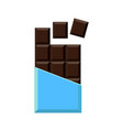 realistic chocolate bar isolated on white vector image vector image