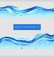 realistic water wave set vector image vector image