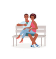 romantic date couple in love in park happy young vector image