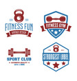 set fitness emblems signs labels badges vector image vector image