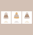 set holiday cards with and congratulatory vector image vector image