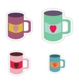 Set of paper stickers on white background cup vector image vector image