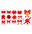set of realistic red bow ribbon isolated vector image vector image