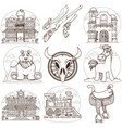 set outline drawing on theme wild vector image vector image