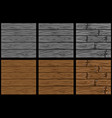 set seamless wooden patterns in 3 steps of vector image