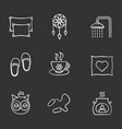 sleeping accessories chalk icons set vector image vector image