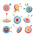target with arrow icons set cartoon style vector image