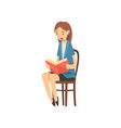 teacher sitting on chair and reading book to vector image vector image