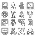 technology icons set on white background vector image