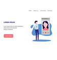 video chat concept at web page template - man vector image vector image