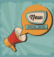 vintage megaphone bubble speech special offer vector image