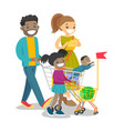 young multicultural family with kids shopping vector image vector image