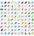 100 technology icons set isometric 3d style vector image vector image
