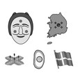 a map of the state with a flag a korean mask a vector image vector image