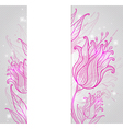background with pink hand drawn tulips vector image vector image