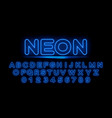 blue neon letters of the english alphabet vector image vector image