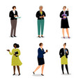 businesswomen with phones and papers vector image vector image