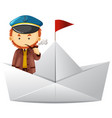 captain and paper boat vector image vector image